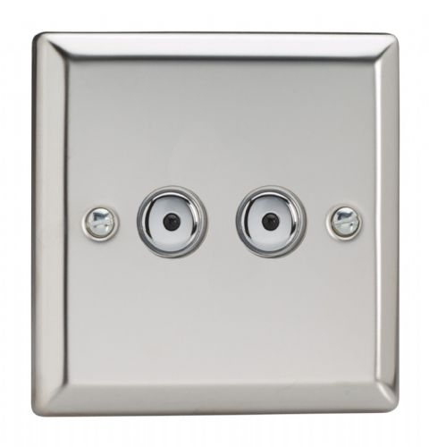 Varilight IJCI102 Classic Mirror Chrome 2 Gang 1-Way Remote/Touch Master LED Dimmer 0-100W